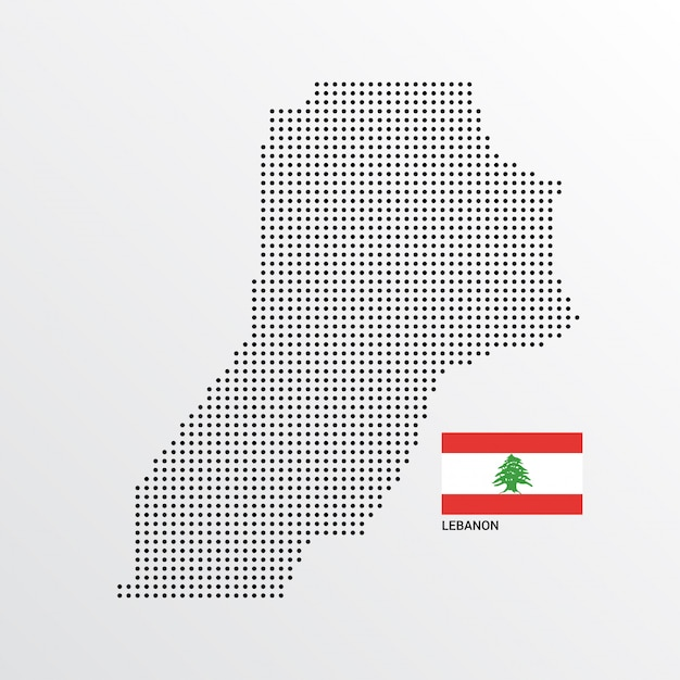 Lebanon map design with flag and light background vector Free Vector