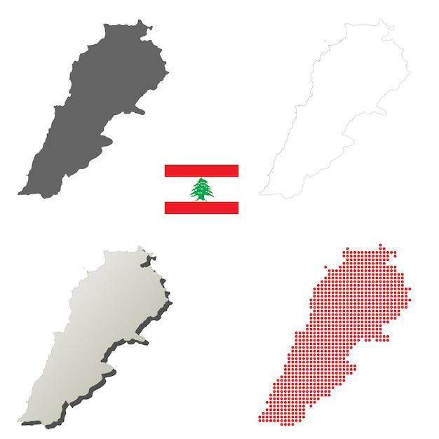 Lebanon vector outline map set Premium Vector