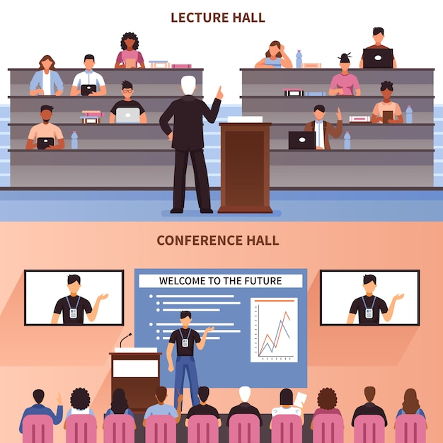 Lecture and conference hall banner set Free Vector