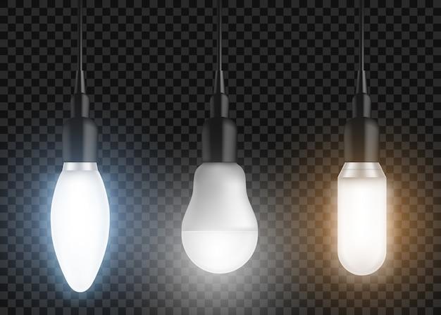 Led bulbs set. glowing lamps, modern lightbulbs Free Vector