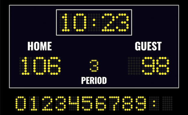 Led digital scoreboard Premium Vector