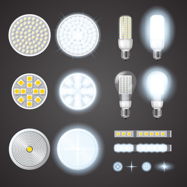 Free Vector | Led lamps and lights effects set