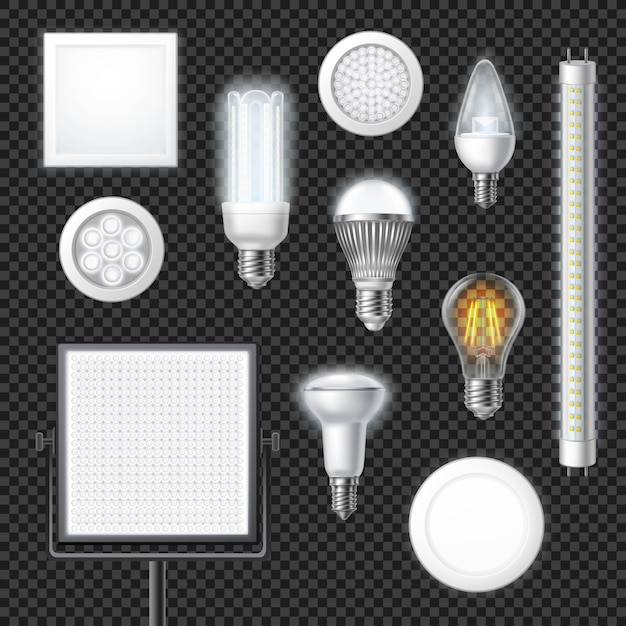 Led lamps realistic transparent set Free Vector