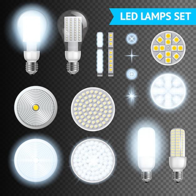 Led lamps transparent set Free Vector