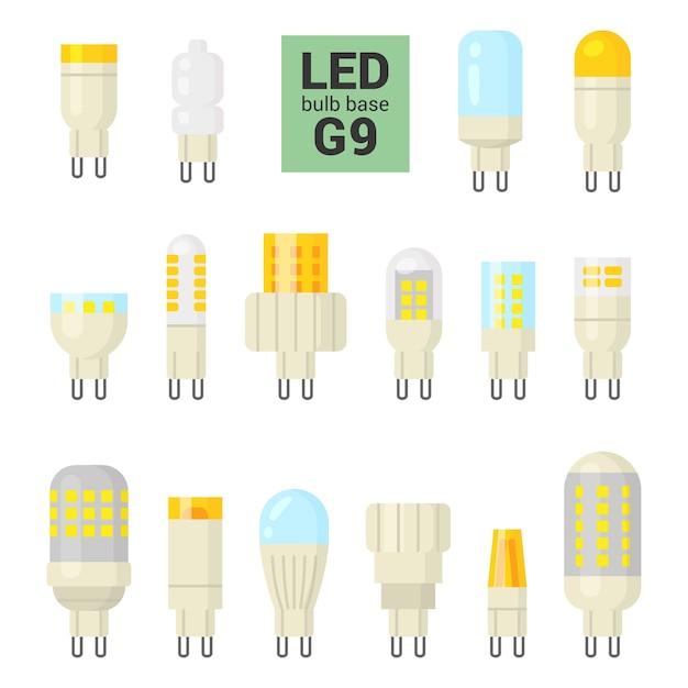 Светодиодные лампы с цоколем g9, красочный набор на белом фоне Premium векторы