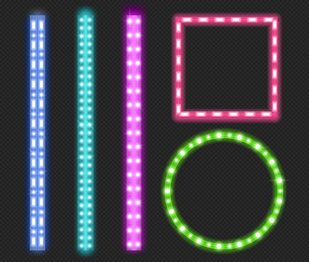 Led strips, neon light ribbons, borders and frames Free Vector