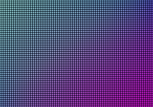 Led video wall screen texture background, blue and purple color light diode dot grid tv panel, lcd display with pixels pattern, television digital monitor, realistic 3d vector illustration Free Vector