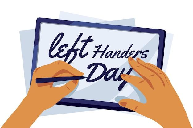 День левшей концепция с ручкой Бесплатные векторы