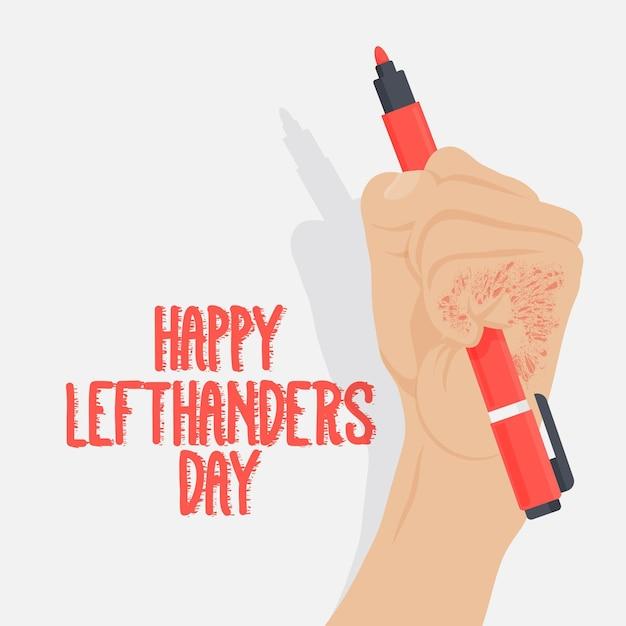 ペンを持つ手で左利きの日 無料ベクター