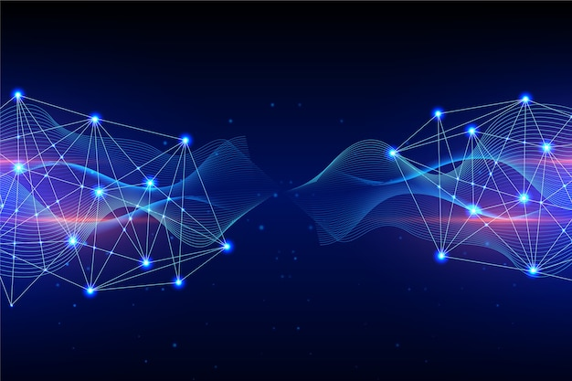 Left and right technology particle background concept Free Vector