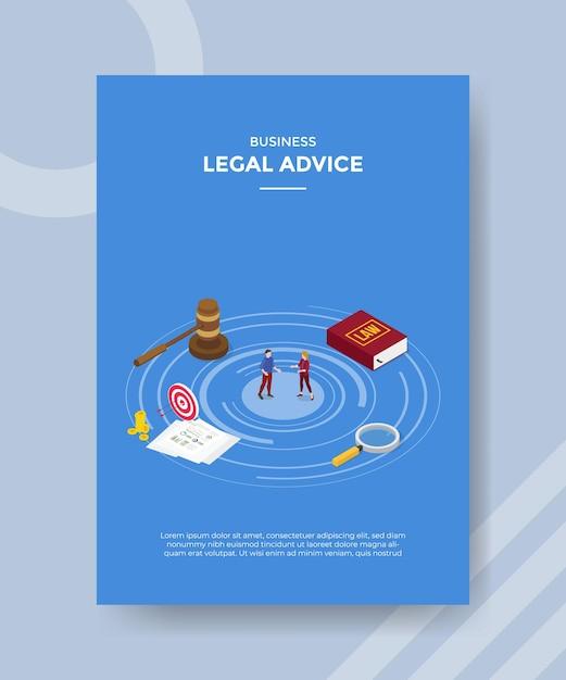 Концепция юридической консультации для шаблона флаера для печати в изометрическом стиле Бесплатные векторы