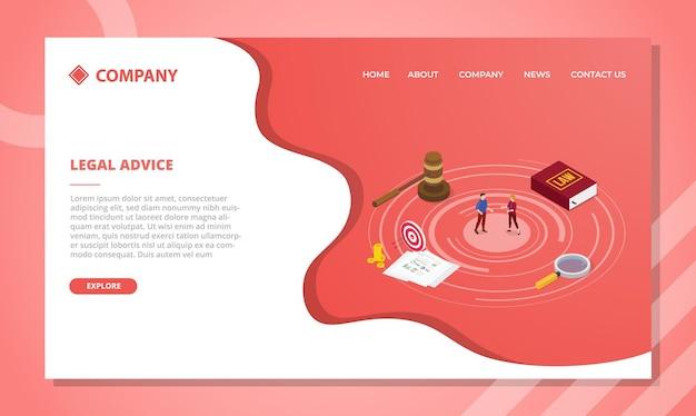 Концепция юридической консультации для шаблона веб-сайта или дизайна домашней страницы в изометрическом стиле Бесплатные векторы