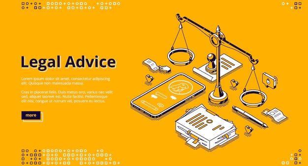 Legal advice isometric landing page. online lawyer assistance for regulation legal issues and compliance to rules. advocate attorney service, 3d line art banner with scales, phone and documents Free Vector
