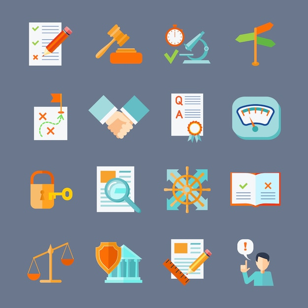 Legal compliance deal protection and copyright regulation flat icons set Free Vector