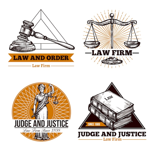 Legal firm and office logo set Free Vector