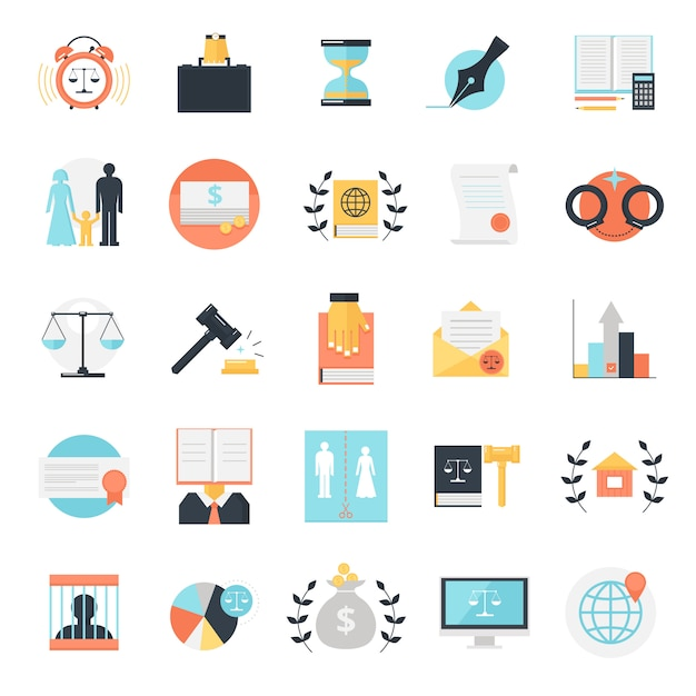 Legal profession icons collection Free Vector