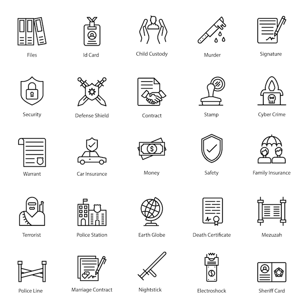 Legal rights line icons pack Premium Vector
