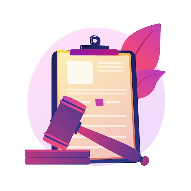 法的声明。裁判所の通知、裁判官の決定、司法制度。弁護士、弁護士、論文の漫画のキャラクターを勉強しています。住宅ローンの借金、法律。 無料ベクター