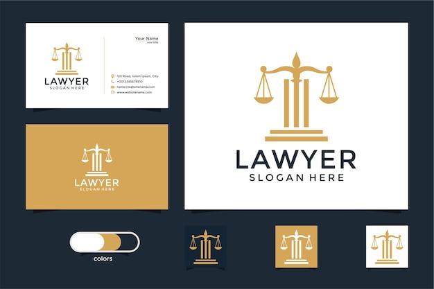 Юридический символ справедливости. юридические бюро, юридическая фирма, услуги адвоката, роскошный шаблон дизайна логотипа и визитная карточка Premium векторы