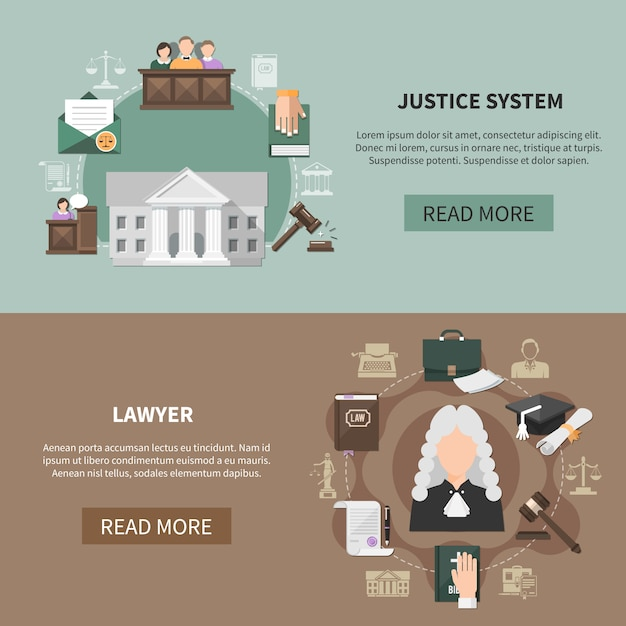 Legal system banner collection Free Vector