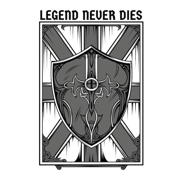 Legend shield black and white illustration Premium Vector