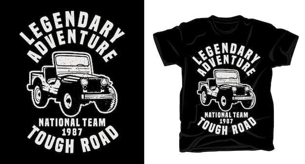 Legendary adventure typography with classic jeep car t-shirt design Premium Vector