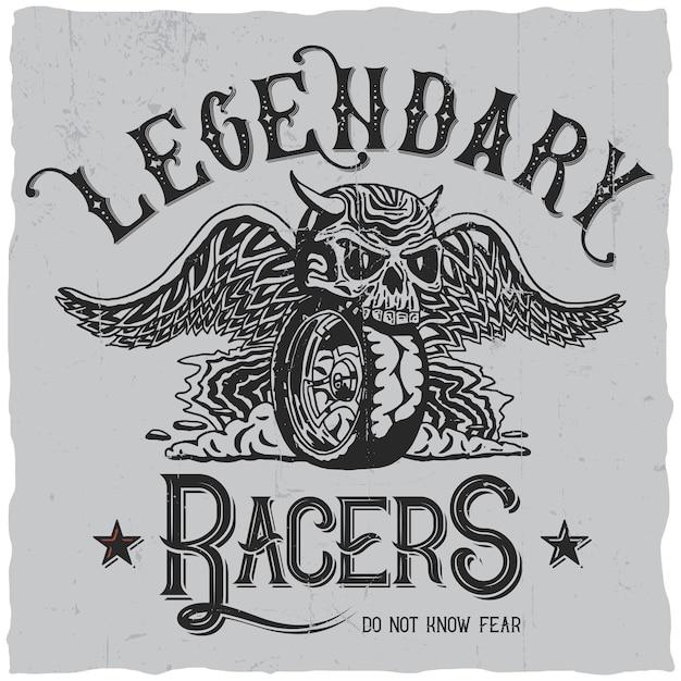 Лейбл legendary racers Бесплатные векторы