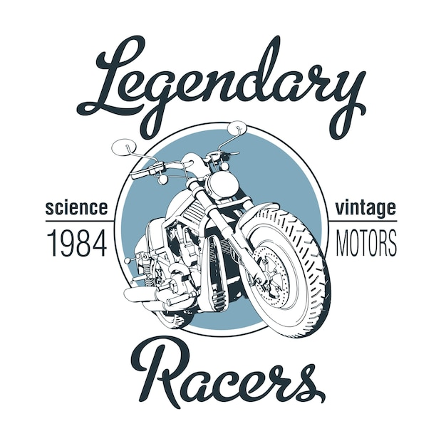 Legendary racers poster with motorcycle Free Vector