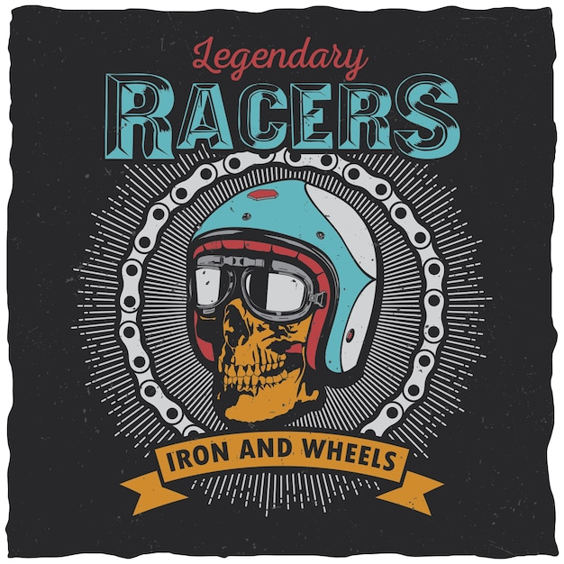 Legendary racers poster with words iron and wheels for design Free Vector