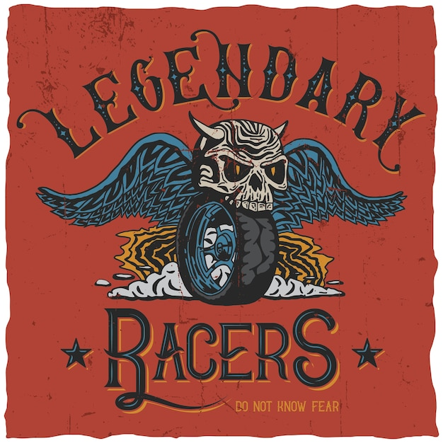 Legendary racers poster with words do not know fear Free Vector