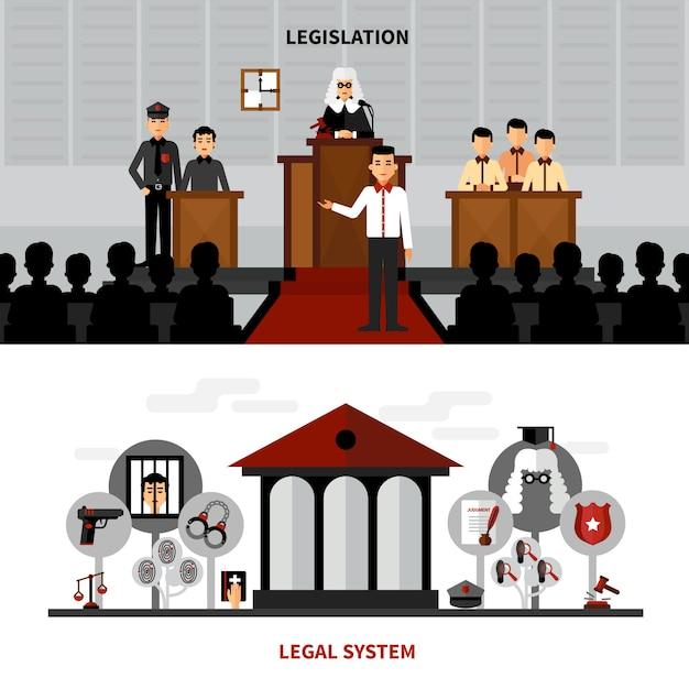 Legislation law 2 flat banners composition Free Vector