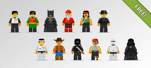 lego character illustrations Free Vector