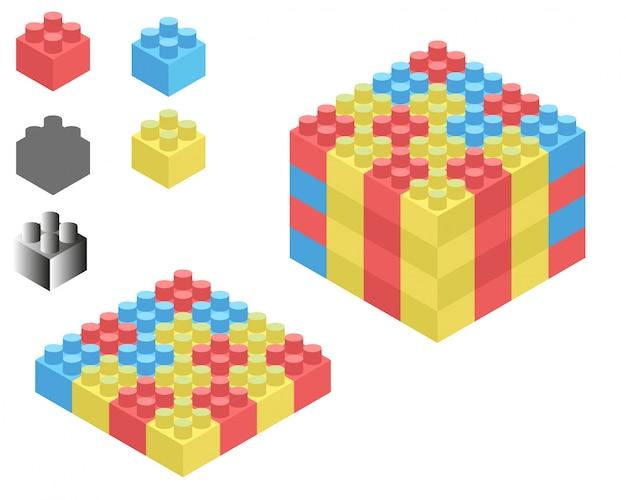 Lego isometric Premium Vector