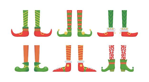 ベル付きの靴で足のクリスマスのエルフ。 Premiumベクター