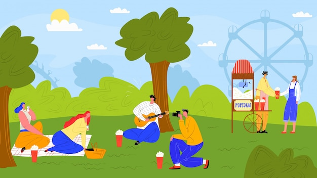 Отдых на внешней природе, характер людей в иллюстрации парка. женщина мужчина человек в летних мультфильм деятельности, пикник на траве. праздник расслабиться возле дерева, девочка мальчик отдыхать на пейзаж. Premium векторы