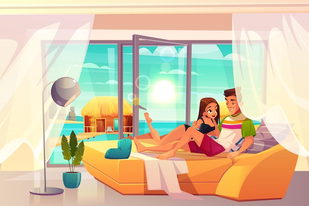 Leisure on luxury resort cartoon vector. Free Vector