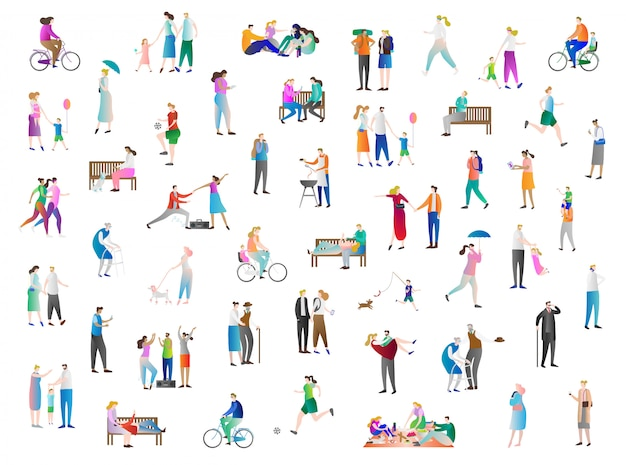 Leisure people vector collection Premium Vector