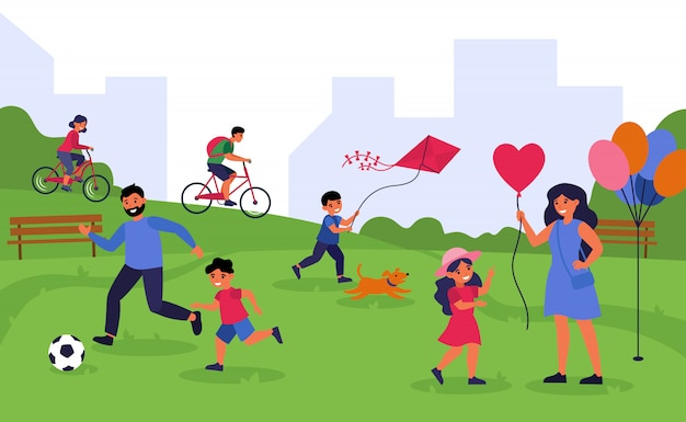 Leisure time outdoors and togetherness concept Free Vector