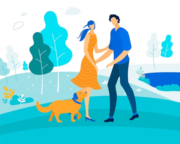 Leisure with pet, happy couple playing with dog Premium Vector