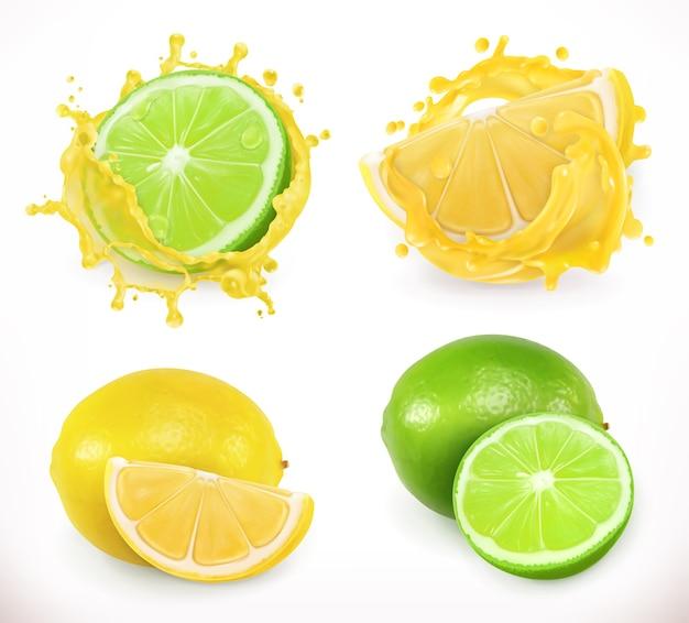 Лимонно-лаймовый сок. свежие фрукты, 3d векторные иллюстрации Premium векторы