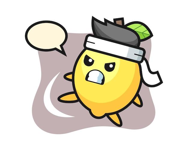 Lemon cartoon illustration doing a karate kick Premium Vector