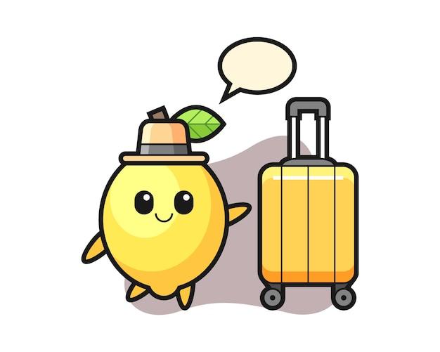 休暇で荷物を持ってレモン漫画イラスト Premiumベクター
