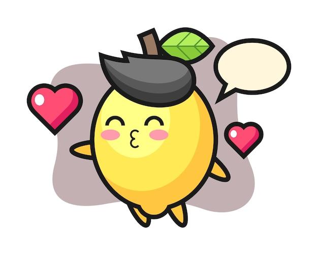 Lemon character cartoon with kissing gesture Premium Vector