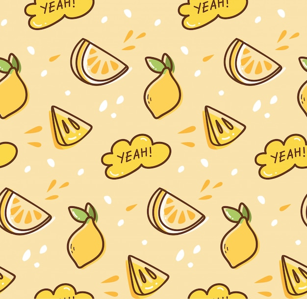 Lemon fruit seamless background in kawaii style Premium Vector
