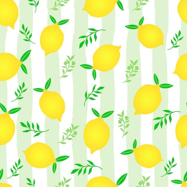 Lemon fruit seamless pattern Premium Vector