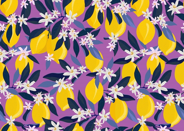 Lemon fruits seamless pattern with flowers and leaves Premium Vector