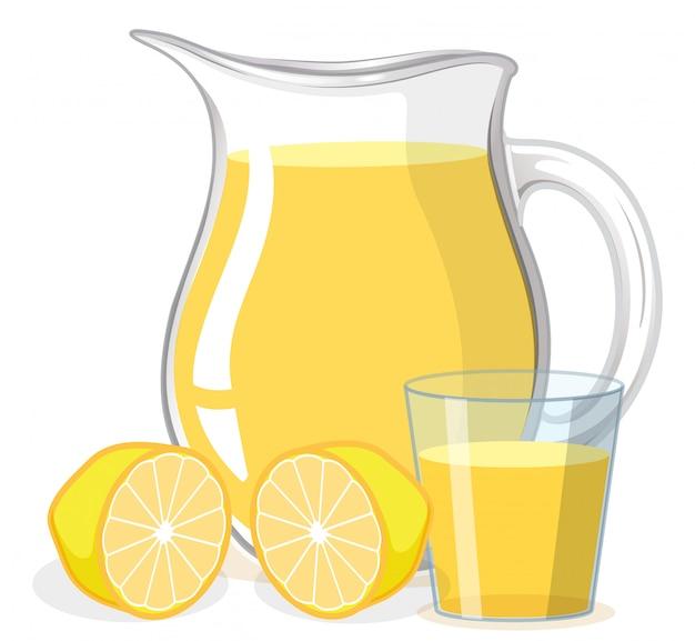 ガラスと白い背景の上の水差しのレモンジュース 無料ベクター