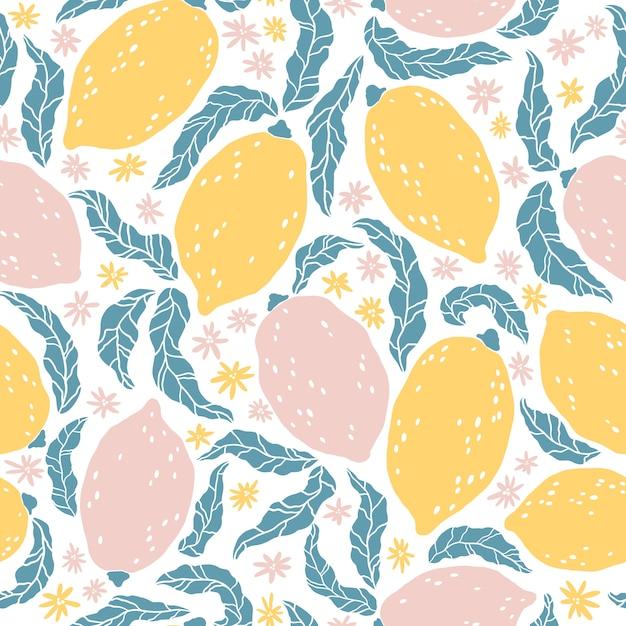 Лимонный узор. бесшовный фон с рисованной цитрусовые и цветы. карикатура иллюстрации в простом плоском скандинавском стиле. идеально подходит для ткани, текстиля, упаковки, дизайна кухни. Premium векторы