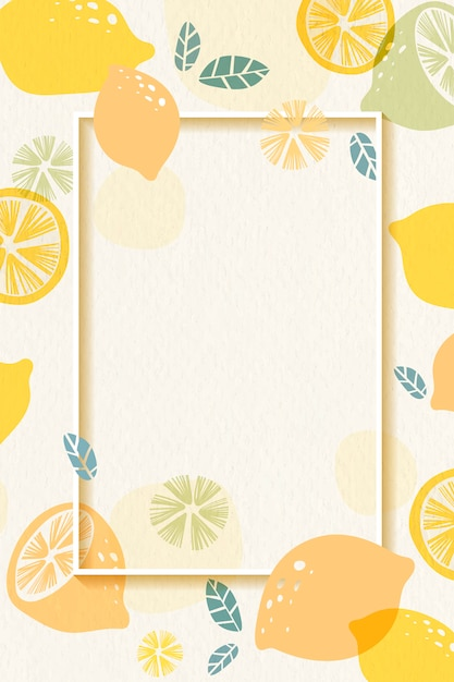 Lemon patterned frame Free Vector