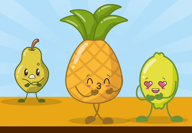 Lemon, pineapple and pear smiling in kawaii style. Free Vector